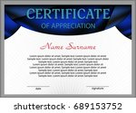 template certificate or diploma.... | Shutterstock .eps vector #689153752
