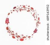 autumn composition. wreath made ... | Shutterstock . vector #689163952