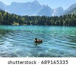 alpine lake with crystal clear... | Shutterstock . vector #689165335
