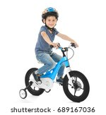 Cute Little Boy Riding Bicycle...