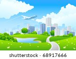 Green City Landscape With Road...