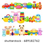 set of colourful children toys... | Shutterstock . vector #689182762