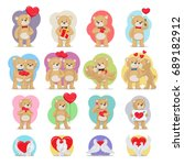 valentines day set. bears and... | Shutterstock . vector #689182912