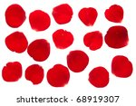 Stock photo red rose petal collection isolated on white background 68919307