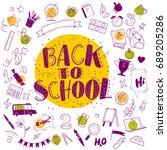 vector back to school doodle... | Shutterstock .eps vector #689205286