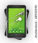 Black smartphones and earphones. - stock photo