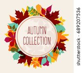 autumn leaves round banner with ... | Shutterstock .eps vector #689207536