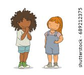 two young girls standing ... | Shutterstock .eps vector #689212375