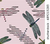 seamless pattern with dragonfly ... | Shutterstock . vector #689215285