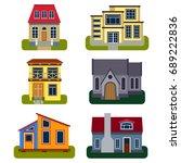 historical city modern world... | Shutterstock .eps vector #689222836