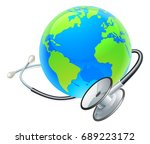 an earth world globe with a... | Shutterstock .eps vector #689223172