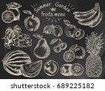fruits menu  summer garden ... | Shutterstock .eps vector #689225182