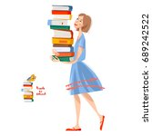 a girl with a pile of books.... | Shutterstock .eps vector #689242522