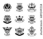 imperial crowns emblems set.... | Shutterstock .eps vector #689249218