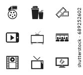 set of 9 editable filming icons.... | Shutterstock .eps vector #689252602