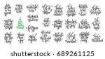 set of 25 black ink christmas...   Shutterstock . vector #689261125