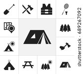set of 12 editable camping... | Shutterstock .eps vector #689267092