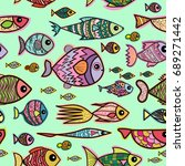 vector seamless pattern with... | Shutterstock .eps vector #689271442