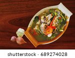 yummy sour and spicy soup with... | Shutterstock . vector #689274028