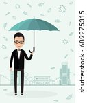 man with an umbrella in rainy... | Shutterstock .eps vector #689275315