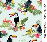 tropical flowers and toucan... | Shutterstock .eps vector #689278852