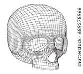 skull wireframe low poly mesh....   Shutterstock .eps vector #689278966