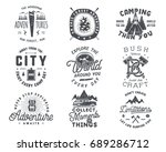 vintage hand drawn travel badge ... | Shutterstock .eps vector #689286712