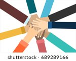 young people putting their... | Shutterstock .eps vector #689289166
