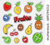 cute fruits stickers  badges... | Shutterstock .eps vector #689294212