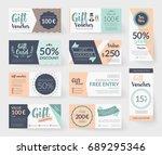 vector gift voucher... | Shutterstock .eps vector #689295346