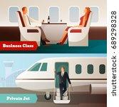 trip on airplane horizontal... | Shutterstock .eps vector #689298328