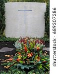 Small photo of Decorated tomb in a cemetery at All Saints Day, Munich, Bavaria, Germany, 2. November 2010