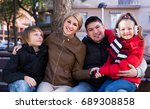ordinary family of four... | Shutterstock . vector #689308858