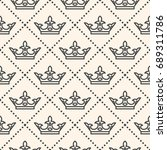 seamless pattern with crown... | Shutterstock . vector #689311786