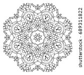 floral mandala round pattern.... | Shutterstock . vector #689311822