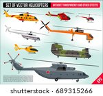 Helicopters Set Isolated. Civi...