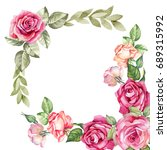Stock photo flowers frame with watercolor roses 689315992