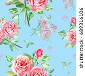 seamless watercolor pink roses... | Shutterstock . vector #689316106