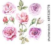 set of watercolor roses | Shutterstock . vector #689328778
