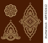 set of mehndi flower pattern... | Shutterstock .eps vector #689332612