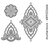 set of mehndi flower pattern... | Shutterstock .eps vector #689332666