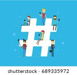 hashtag concept illustration of ... | Shutterstock .eps vector #689335972