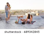 young people chilling out and... | Shutterstock . vector #689342845