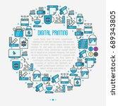digital printing concept in... | Shutterstock .eps vector #689343805