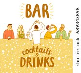 bar poster with people drinking.... | Shutterstock .eps vector #689343898