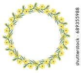 floral wreath with yellow... | Shutterstock . vector #689355988