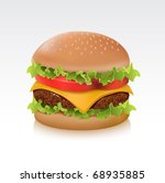 delicious juicy cheeseburger | Shutterstock .eps vector #68935885