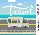 travel card. hand drawn modern... | Shutterstock .eps vector #689361112