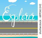explorer card. hand drawn... | Shutterstock .eps vector #689361142