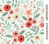 cute floral pattern in the... | Shutterstock .eps vector #689363305